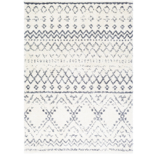 """6'7"""" x 9' Distressed Finished Tribal Pattern Gray and White Rectangular Area Rug - IMAGE 1"""