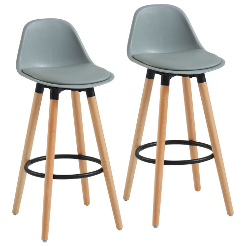 "Set of 2 Gray and Black Transitional Counter Stools with Footrest 34.75"" - IMAGE 1"