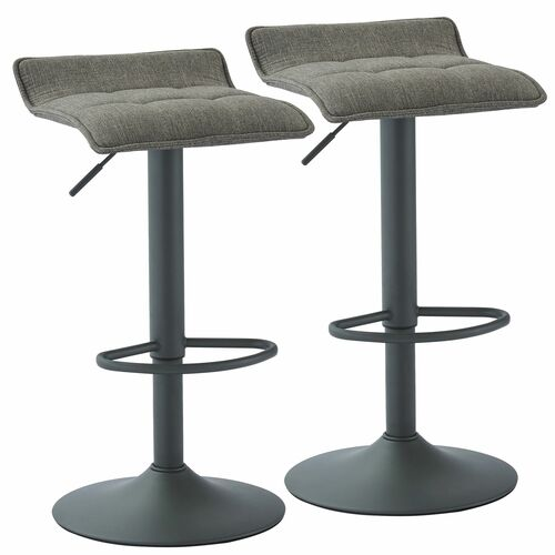 """Set of 2 Gray Contemporary Tufted Adjustable Height Stools 31.5"""" - IMAGE 1"""