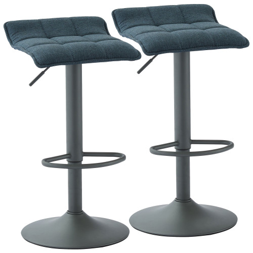"""Set of 2 Blue and Gray Contemporary Tufted Adjustable Height Stools 31.5"""" - IMAGE 1"""
