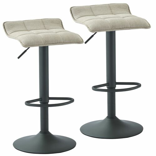 "Set of 2 Beige and Gray Contemporary Tufted Adjustable Height Stools 31.5"" - IMAGE 1"