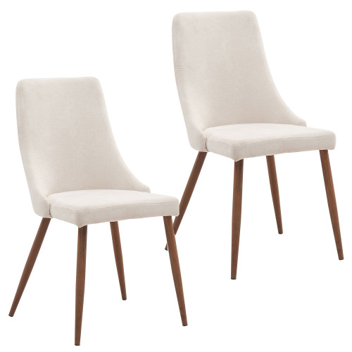 "Set of 2 Beige and Brown Contemporary Side Chairs 35.75"" - IMAGE 1"
