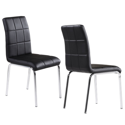 """Set of 4 Black and Silver Contemporary Side Chairs 36.5"""" - IMAGE 1"""