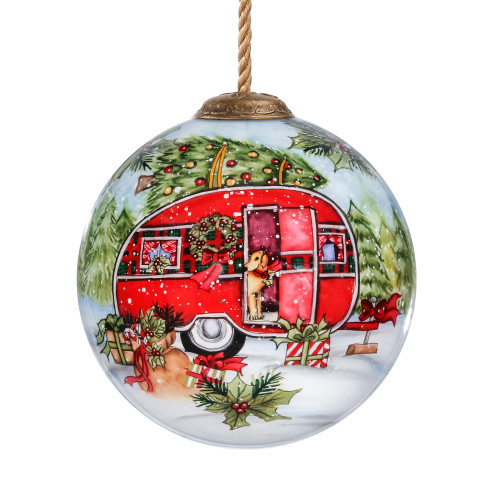 "3"" White and Red Red Holiday Camper Hand Painted Glass Ornament - IMAGE 1"