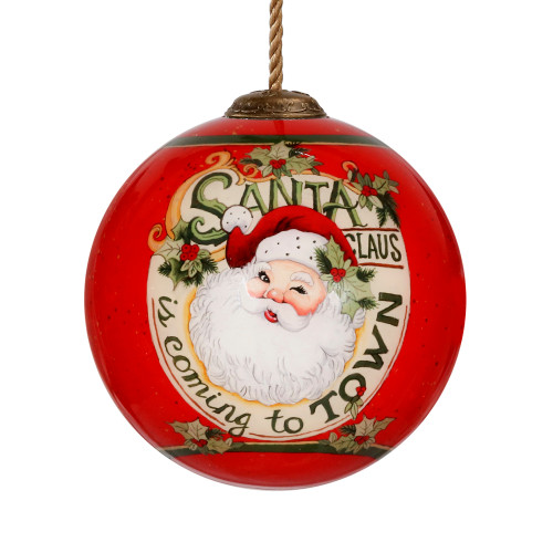 "3"" Red and White Santa Hand Painted Mouth Blown Glass Hanging Christmas Ornament - IMAGE 1"