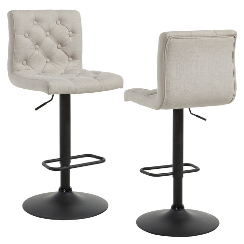 "Set of 2 Beige and Black Contemporary Adjustable Height Stools 42.5"" - IMAGE 1"
