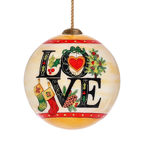 Yellow and Black Love Joy Peace Design Hand Painted Mouth Blown Glass Hanging Christmas Ornament - IMAGE 1