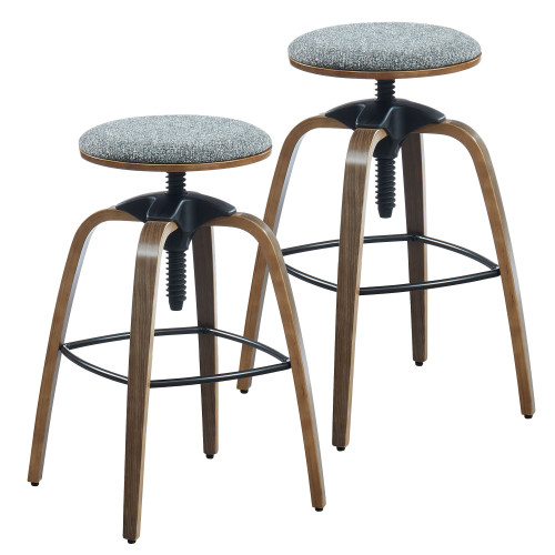 """Set of 2 Gray and Brown Adjustable Height Backless Stool 31.5"""" - IMAGE 1"""