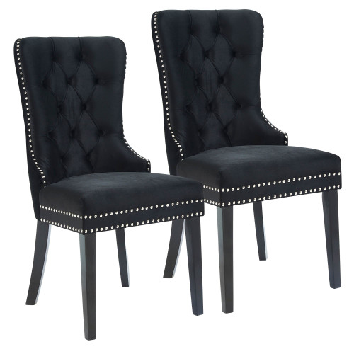 """Set of 2 Black and Brown Contemporary Button Tufted Side Chairs 40"""" - IMAGE 1"""