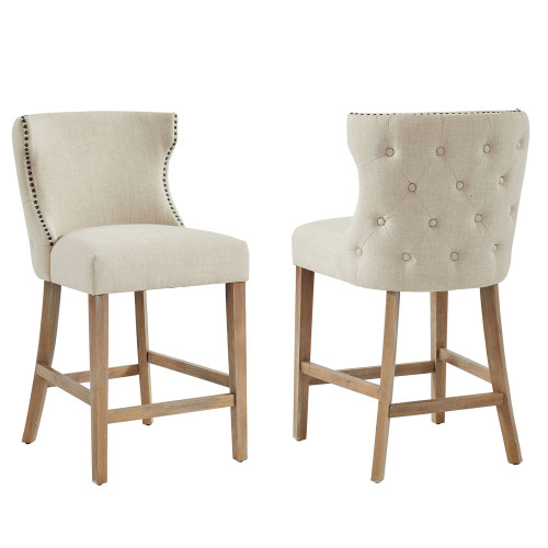 "Set of 2 Beige and Brown Button Tufted Counter Stools 40"" - IMAGE 1"