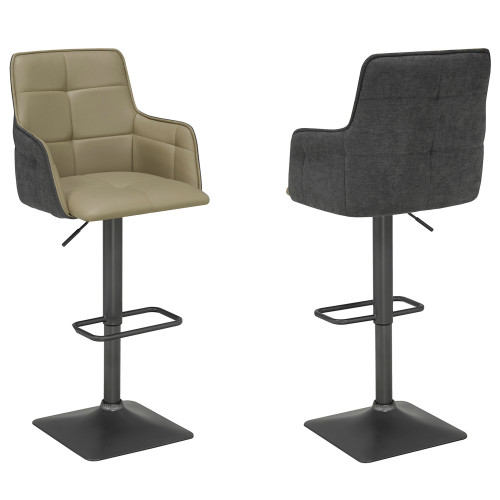 "Set of 2 Taupe Gray Contemporary Adjustable Height Stools 46.75"" - IMAGE 1"