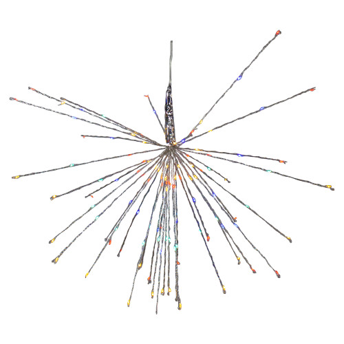 """20"""" LED Lighted Firework Silver Branch Hanging Decor - Multi-Colored - IMAGE 1"""
