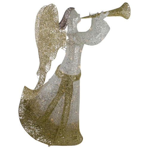 """44"""" Cotton Thread LED Lighted Gold and Silver Glitter Angel Outdoor Christmas Decoration - IMAGE 1"""