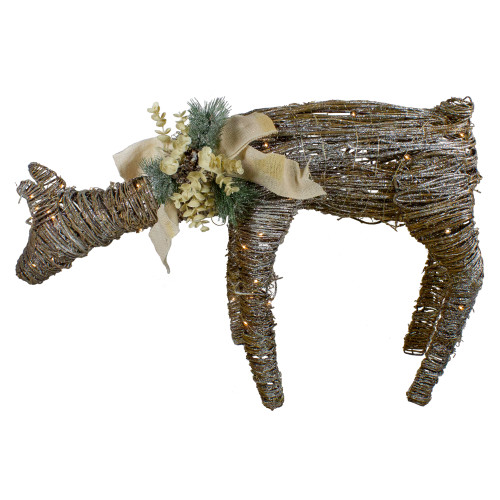 """38"""" LED Drinking Rattan Deer Fawn Christmas Yard Decorations - IMAGE 1"""