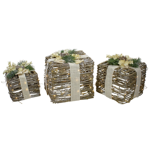 """Set of 3 Silver LED Rattan Christmas Gift Boxes With Pine Cones - 13"""" - IMAGE 1"""