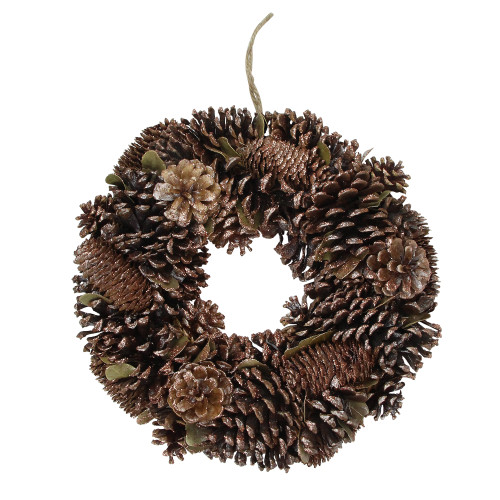 Brown Assorted Pine Cone Wooden Christmas Wreath - 13-Inch, Unlit - IMAGE 1