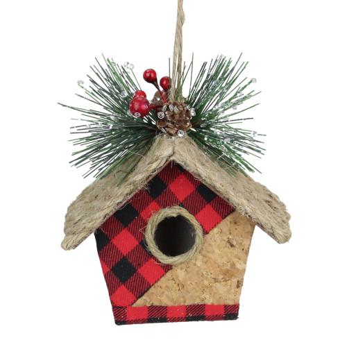 "5.75"" Red and Black Buffalo Plaid Hanging Bird Tree Christmas Ornament - IMAGE 1"