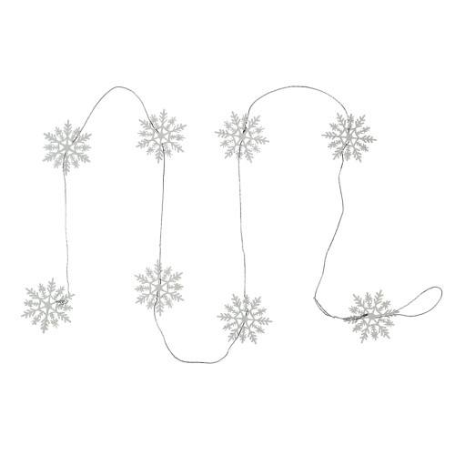 5' White Glitter Dusted Wooden Snowflake Christmas Garland - IMAGE 1