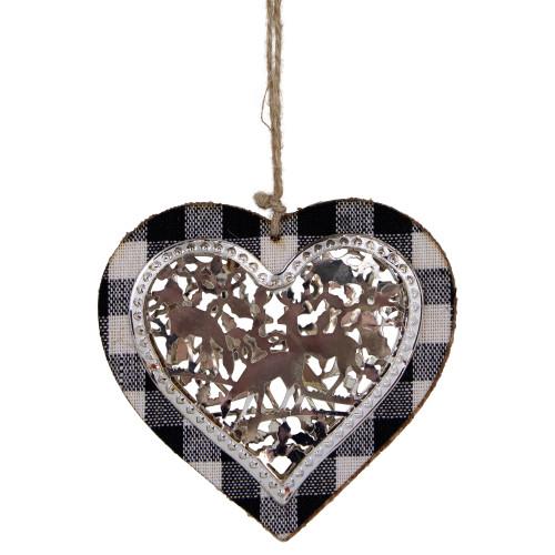"4.25"" Black and White Buffalo Plaid Heart Shaped Reindeer Christmas Ornament - IMAGE 1"