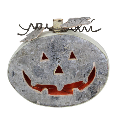 "9.25"" Gray LED Battery Operated Jack-O-Lantern Halloween Table Top Decoration - IMAGE 1"