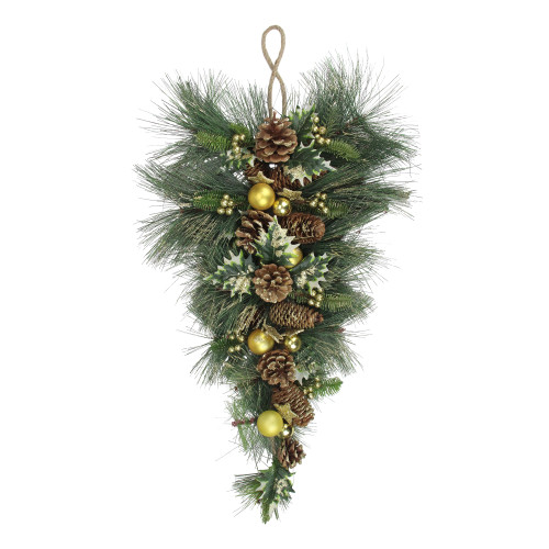 """31"""" Long Needle Pine with Winter Foliage and Stars Christmas Swag - IMAGE 1"""