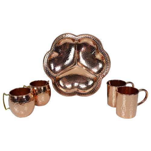 """9pc Copper Traditional Handcrafted Party Set 13"""" - IMAGE 1"""