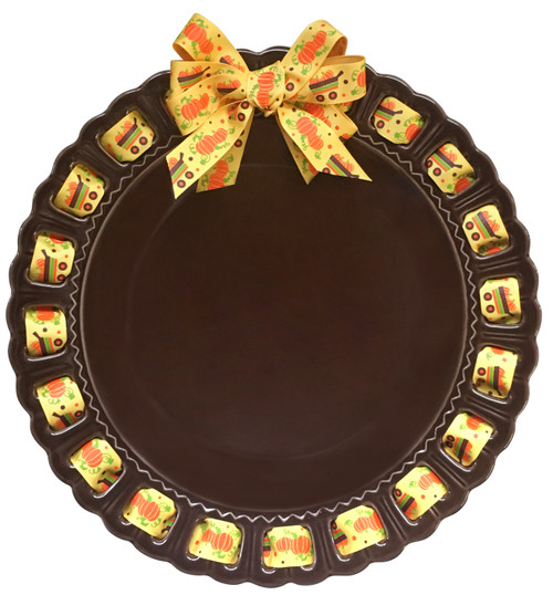 """12"""" Round Brown Ceramic Ribbon Plate with Festive Fall Ribbon - IMAGE 1"""