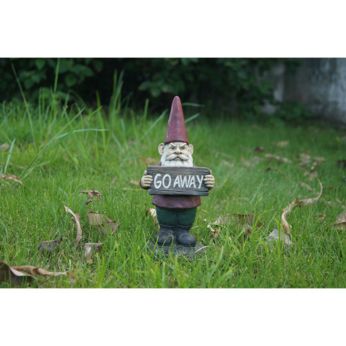 """10"""" Red and Gray Gnome Holding GO AWAY Sign Statue - IMAGE 1"""