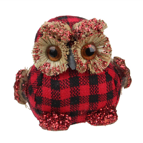 """3.5"""" Red and Black Buffalo Plaid Table-Top Embellished Owl - IMAGE 1"""