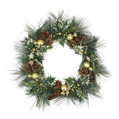 Long Needle Pine with Winter Foliage and Stars Christmas Wreath - 20-Inch, Unlit - IMAGE 1