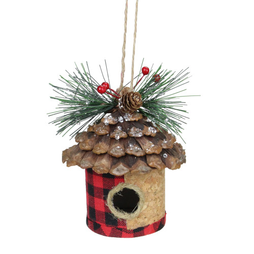 """5.75"""" Red and Black Plaid Bird Tree Hanging Christmas Ornament - IMAGE 1"""