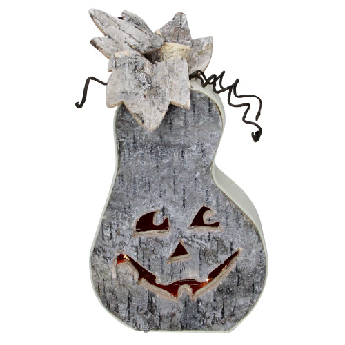"9.5"" Gray LED Battery Operated Jack-O-Lantern Halloween Table Top Decoration - IMAGE 1"