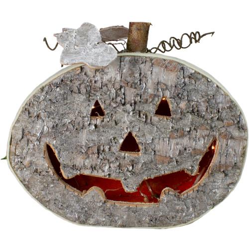 """12"""" LED Lighted Birch Wood Jack-O-Lantern Halloween Decoration - IMAGE 1"""