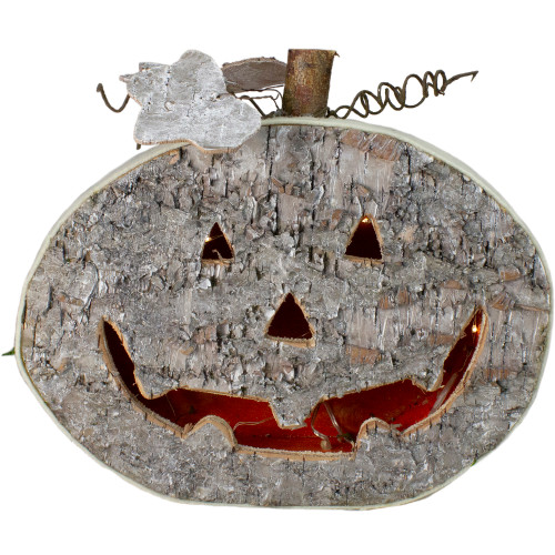 "12"" Gray LED Battery Operated Jack-O-Lantern Halloween Table Top Decoration - IMAGE 1"