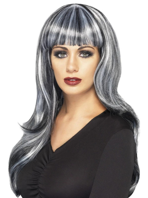 """26"""" Black and Gray Sinister Siren Long Wavy Women Adult Halloween Wig Costume Accessory - One Size - IMAGE 1"""