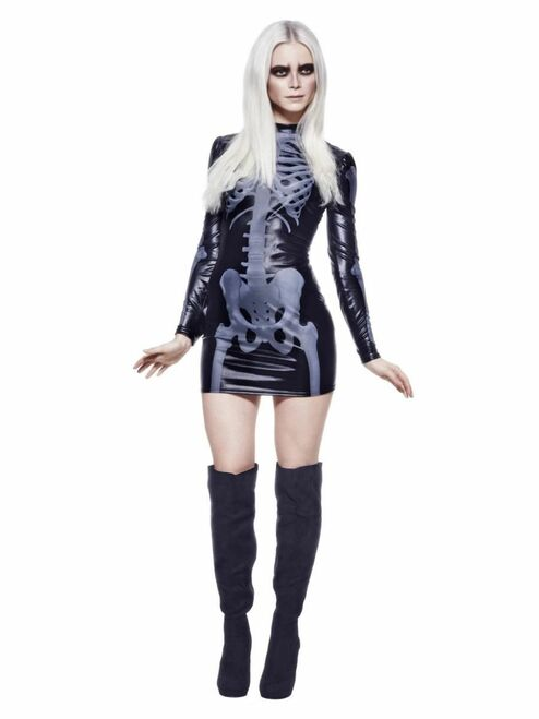 "49"" Black and White Fever Miss Whiplash Skeleton Women Adult Halloween Costume - Small - IMAGE 1"