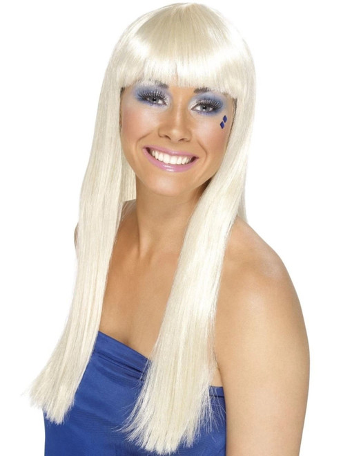 """26"""" Blonde Ivory 1970 Style Dancing Queen Women Adult Halloween Wig Costume Accessory - One Size - IMAGE 1"""