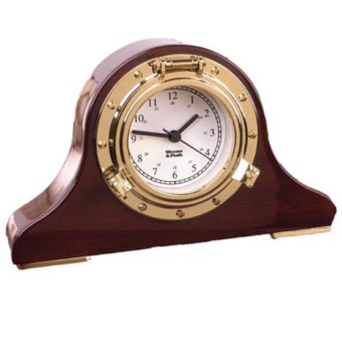 "6"" Brown and Gold Antique Finish Tambour Desk Clock - IMAGE 1"