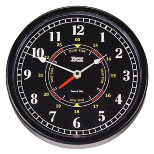 """12"""" Black Antique Finish Round Shaped Time and Tide Clock - IMAGE 1"""