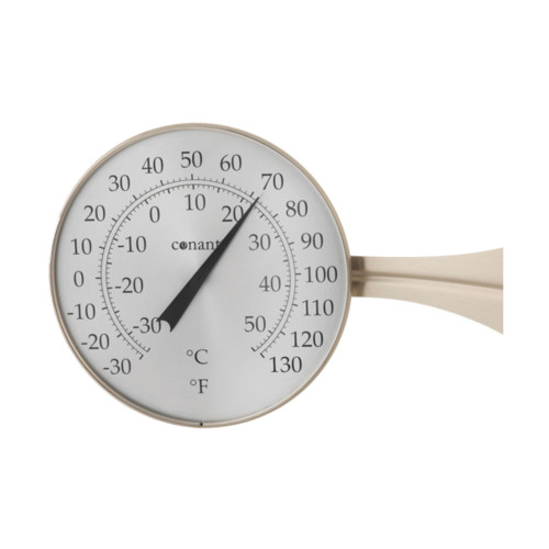 """15"""" Beige and White Round Dial Thermometer with Scales - IMAGE 1"""