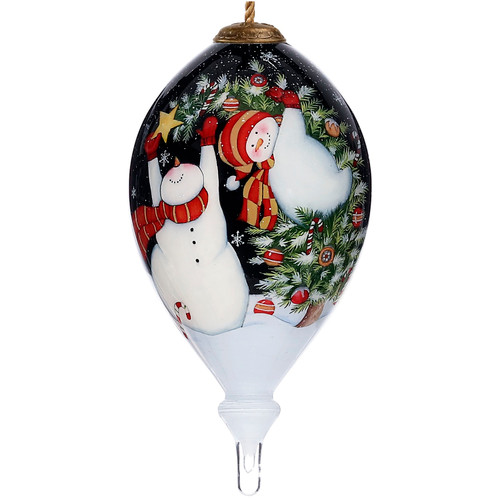 """6"""" White and Black All Decked Out Snowman and gifts Christmas Glass Ornament - IMAGE 1"""