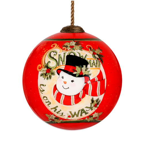 """3"""" Red and White Snowman is on His Way Christmas Glass Ball Ornament - IMAGE 1"""
