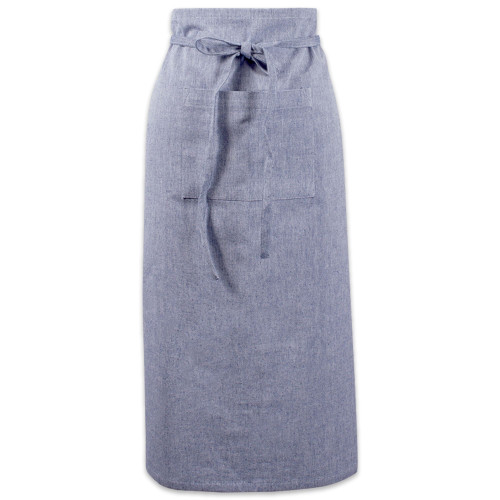 """30"""" Blue Solid Chambray Bistro Apron with Adjustable Strap - IMAGE 1"""