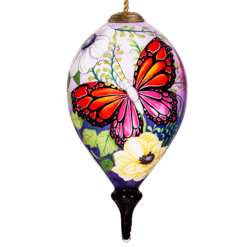 """6"""" Multi-Color Butterfly Hand Painted Mouth Blown Glass Hanging Christmas Ornament - IMAGE 1"""