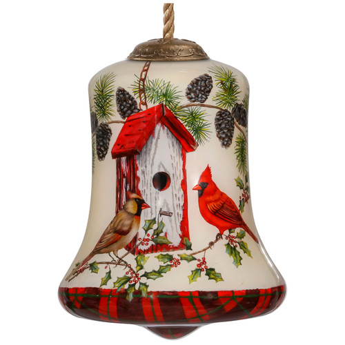 """3.5"""" Home Tweet Home Bird house Christmas Bell Shaped Glass Ornament - IMAGE 1"""