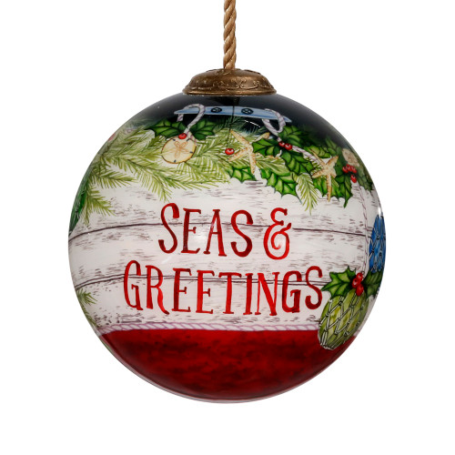 "3"" Green and Red Buoy Seas and Greetings Hand Painted Christmas Ornament - IMAGE 1"
