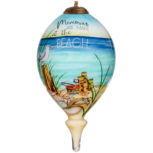 """4.75"""" Ivory and Blue Beach glass Hanging Christmas Ornament - IMAGE 1"""
