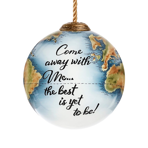 """3"""" Globe Come with me Hand Painted Christmas Ornament - IMAGE 1"""