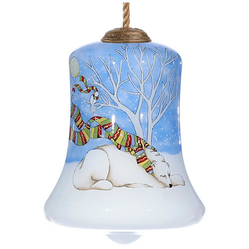"""3.5"""" Blue, White, and Brown Dreaming of a White Christmas Polar Bear Bell Shaped Glass Ornament - IMAGE 1"""