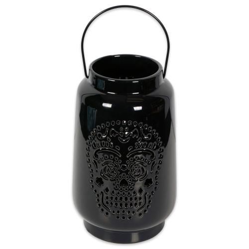 """9"""" Black Dia De Los Muertos Lantern Halloween Decor - IMAGE 1"""
